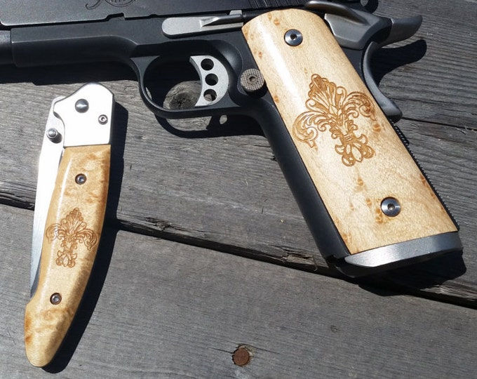 Folding Blade Pocket Knife with handles to match your custom gun grips