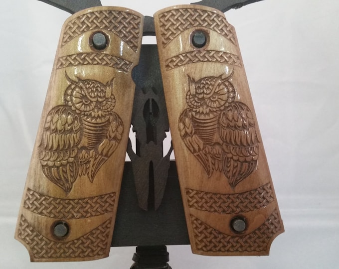 1911 Full size grips with Stylized owl and Basket weave texturing