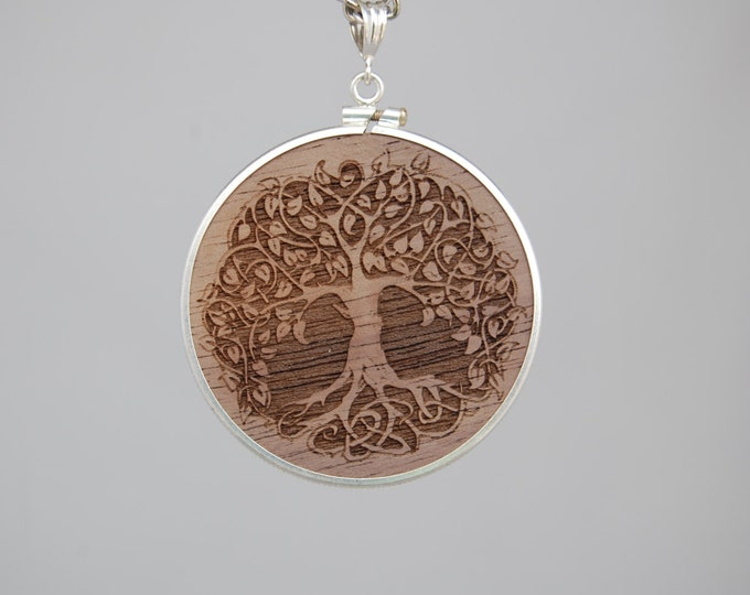 Exotic wood pendant with Tree of Life engraving