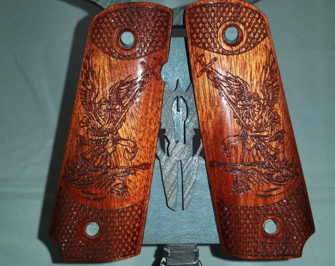 Archangel Michael Conquers Lucifer engraved on Blood Wood Full size 1911 grips