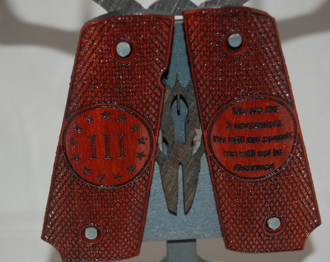 III% (3 percent) engraved on Bloodwood Full size 1911 grips