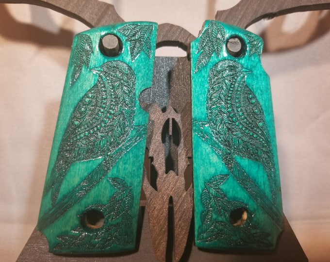 Kimber Micro 9 1911 Grips with Bird engraving