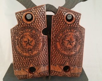 Sig Sauer P938 TEXAS STATE SEAL Mesquite engraved Grips