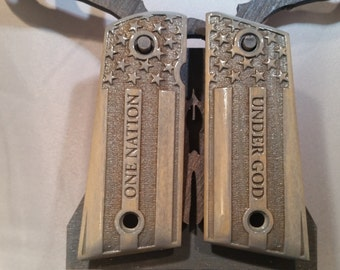 1911 Compact One Nation Under God Flag engraved grips