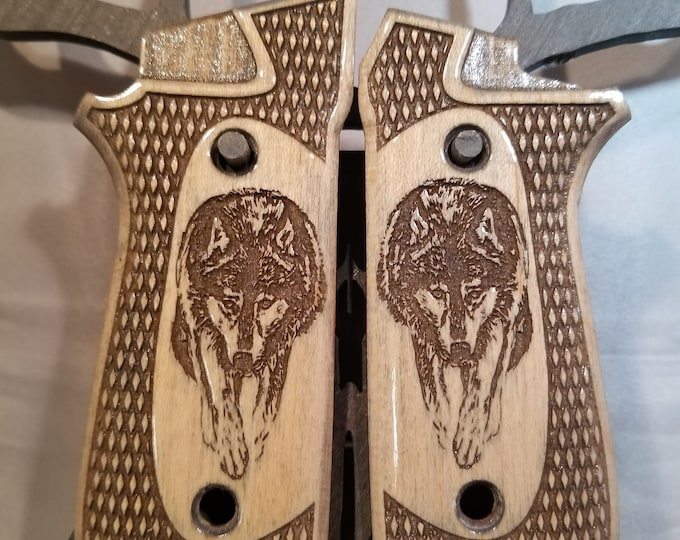 Taurus PT99/92 Decock Grips with Checkering and prowling WOLF engraving
