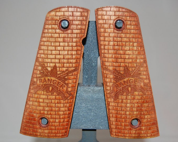 Army Ranger logo engraved 1911 grips made from Poplar