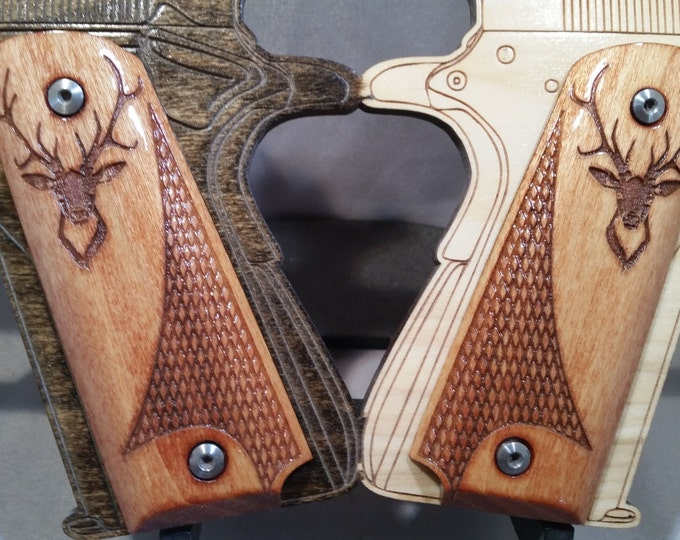 Deer Head Engraved and Checkered Full size 1911 grips