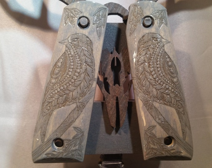 Ruger 22/45 grips with Perched Bird engraving