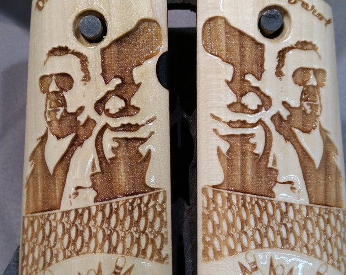 "Big Lebowski ""OVER THE LINE"" engraved Compact 1911 Grips"