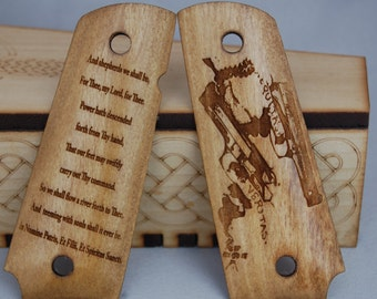 Boondock Saints prayer and Hands engraved 1911 Grips
