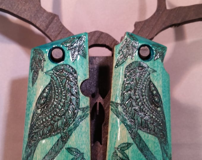 Kimber Micro 380 1911 Grips with Bird engraving
