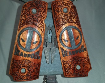 DEADPOOL 1911 Full Size Bloodwood grips with Black Pearl inlay