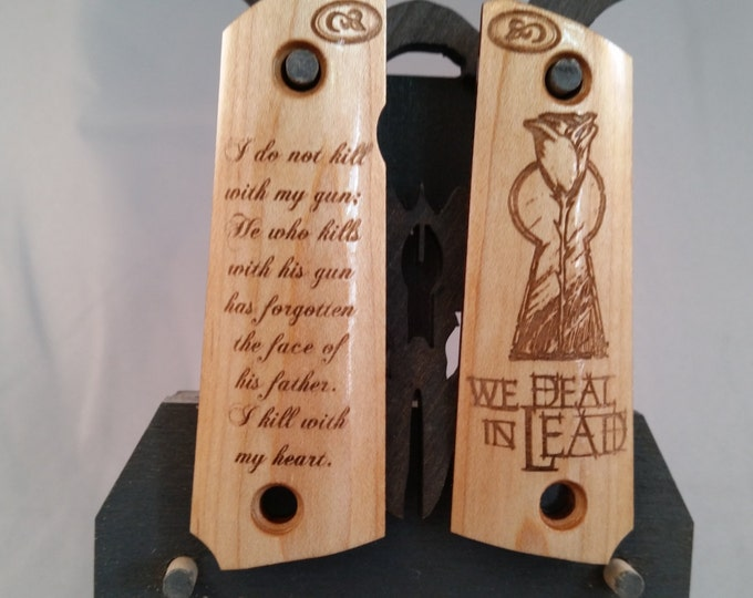 Browing 1911 22/380 Gunslinger Keyhole and Rose with Quote engraved MAPLE Grips