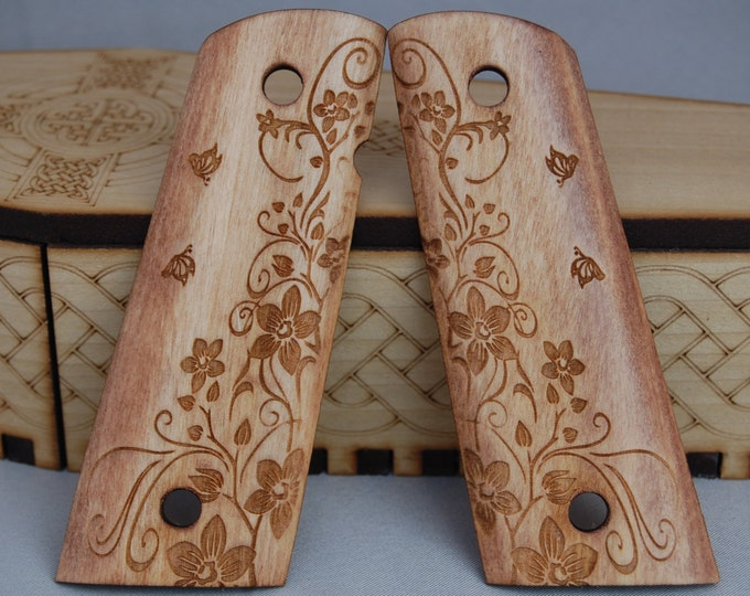 Rose and Butterfly engraved 1911 Grips