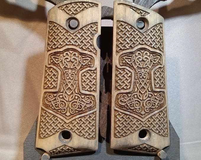 Viking Thors Hammer and Basket Weave engraved  COMPACT 1911 Grips
