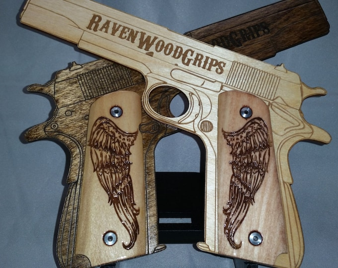 Angel Wing Engraved Full size 1911 grips
