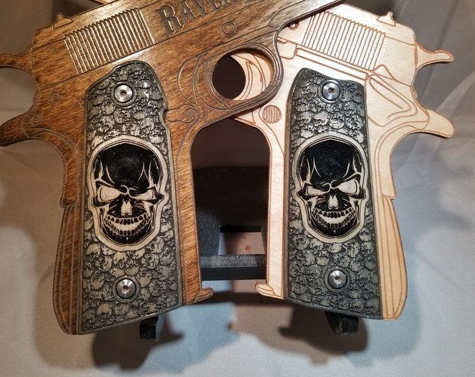 Skull Engraved and Inlaid with Skull Patterning Full size 1911 grips