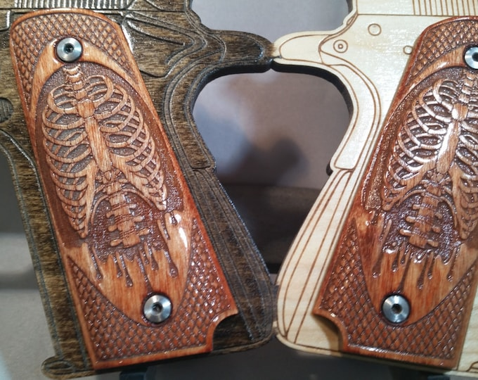 Bones, Ribs, Spine engraved Full Size 1911 Grips