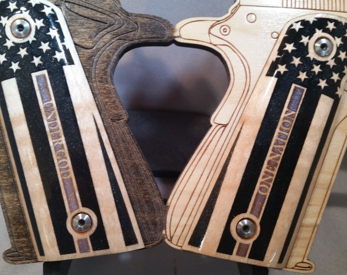 Thin Blue Line and United States Flag inlaid 1911 Full Size Maple grips