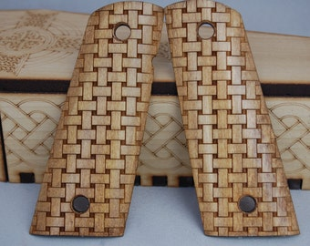 Basket Weave Pattern engraved 1911 Grips
