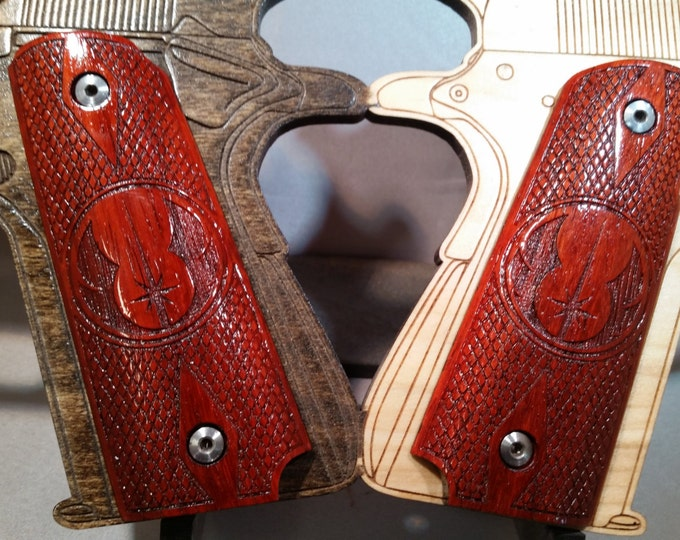 Order of the Jedi Knights logo engraved Full size 1911 grips