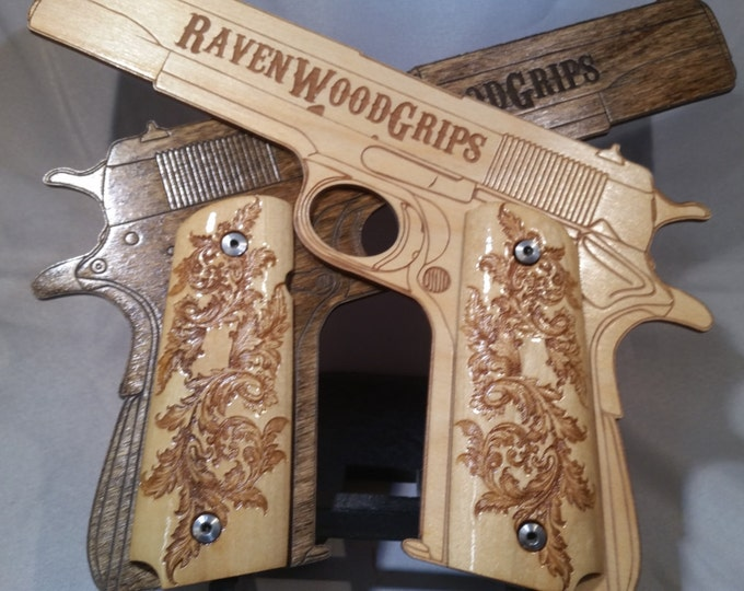 1911 FULL SIZE Super Fancy Scrollwork engraved grips