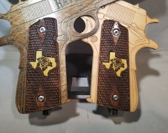 1911 Full Size Yellow Rose of Texas double inlaid Grips