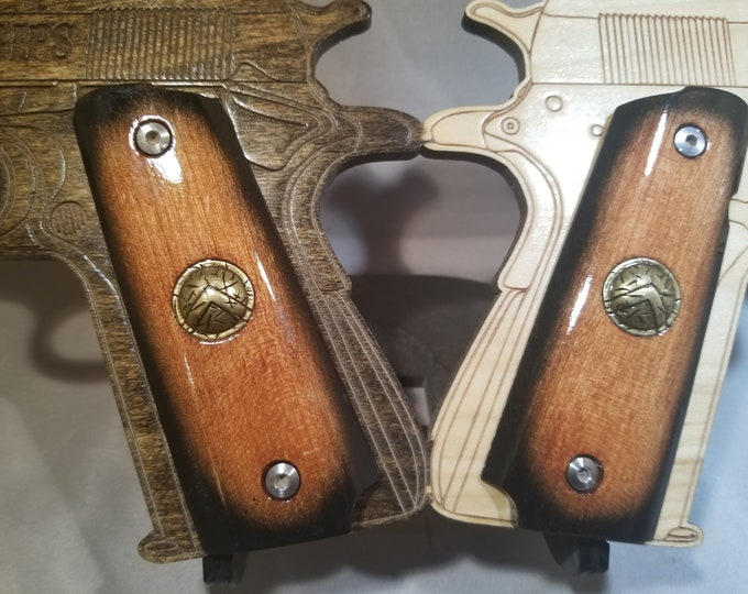 Spartan Shield Inlaid, with Starburst paint/stain Red Full size 1911 grips
