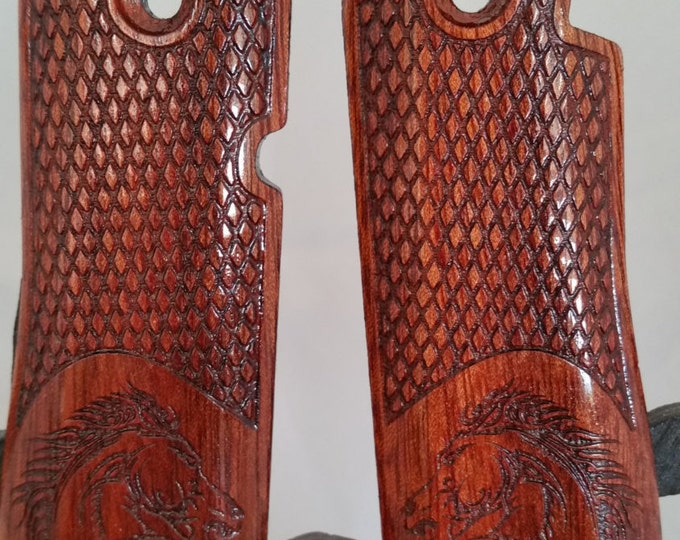 Colt Mk IV Series 80, .380 Grips Made From Bloodwood, engraved with Tribal Horse