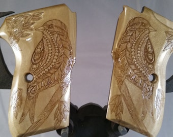 Bersa Thunder 380 Perched Bird Engraved Grips