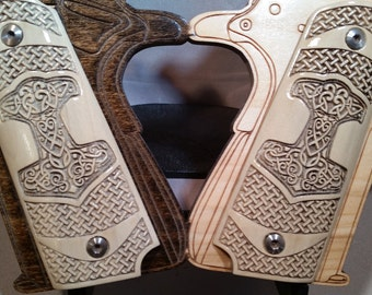 Viking Thors Hammer and Basket Weave engraved  Full Size 1911 Grips