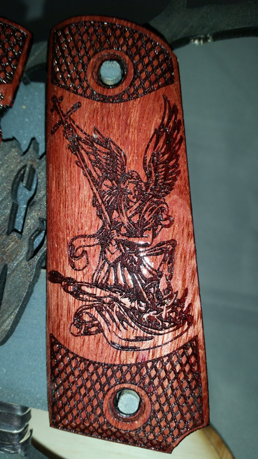Archangel Michael Conquers Lucifer Engraved On Purple