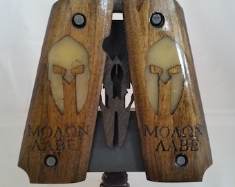 1911 Full Size Resin Inlaid Sparta Helmet and Molon Labe Grips