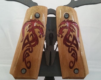 1911 Full Size Viking/Tribal RED DRAGON inlaid Grips