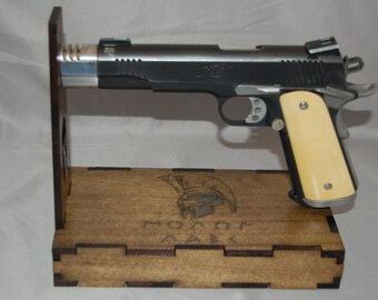 Universal Handgun Display Stand with (or without) hidden drawer (Molan Labe Engraved)