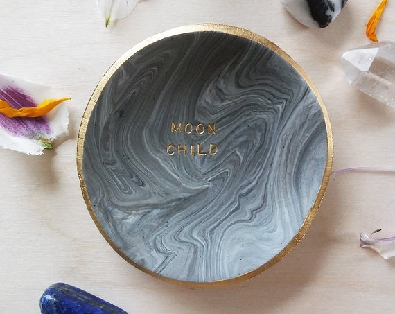 Moon Child Marbled Swirl Ring Dish