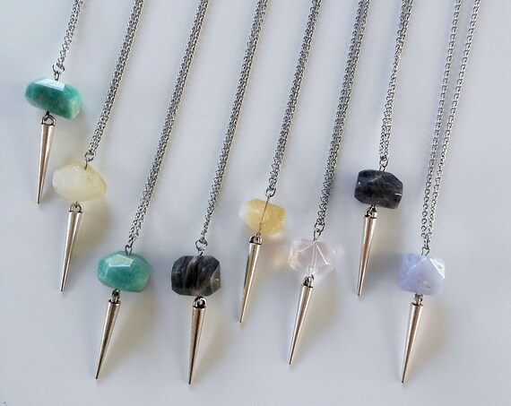 Stone + Spike Crystal / Mineral Necklace