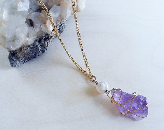 Raw Amethyst Stone Pendant Necklace
