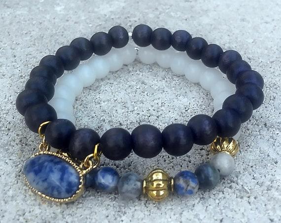 Soul Stack - CALM || Beaded Bracelets || Bracelet Stack || Healing Jewelry || Crystal Jewelry || Beach Jewelry || Charm Bracelet || Sodalite