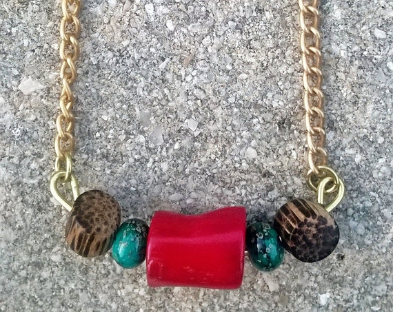 Red Coral & Coconut Shell Necklace