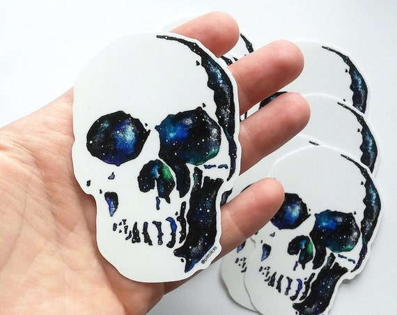 Skull Sticker || Skull Decal || Galaxy Sticker || Celestial Sticker || Skull Art || Celestial Art || Vinyl Decal || Die Cut Sticker