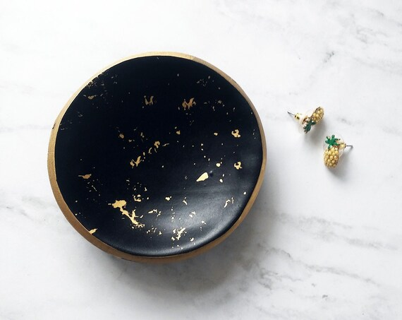 Black and Gold Splatter Ring Dish