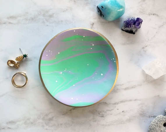 Minty Marbled Swirl Ring Dish