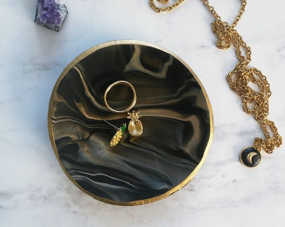 Black Marbled Swirl Ring Dish
