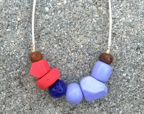 Geometric Clay Bead Necklace