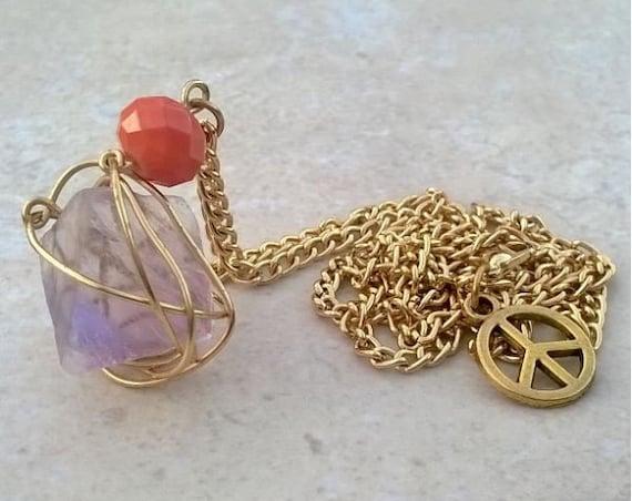 Caged Purple Fluorite Stone Necklace