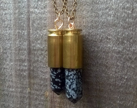 Snowflake Obsidian Bullet Pendant Necklace || Mineral Necklace || Bullet Shell Casing Pendant || Healing Jewelry