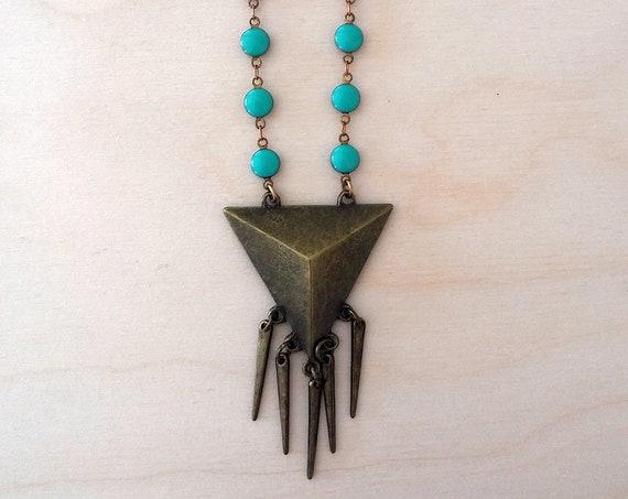 Geometric Triangle Spike Necklace