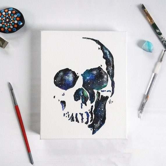 Custom Cosmic Skull Painting