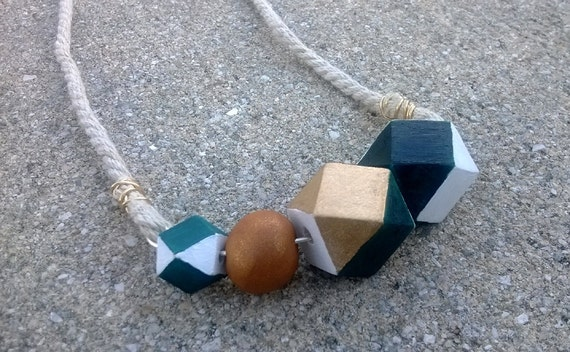 Geometric Wood & Clay Hemp Necklace || Faceted Beads || Gold / White / Teal